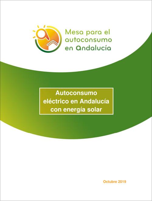 """Portada de la guía """"Autoconsumo eléctrico en Andalucía con energía solar"""" publicada por la Mesa para el Autoconsumo en Andalucía."""