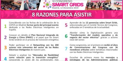 El VI Congreso Smart Grids se celebra el 12 de diciembre coincidiendo con la COP25 en Madrid
