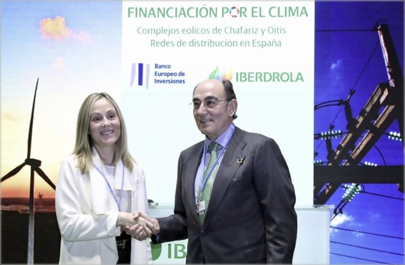 El presidente del grupo Iberdrola, Ignacio Galán, con la vicepresidenta del BEI, Emma Navarro