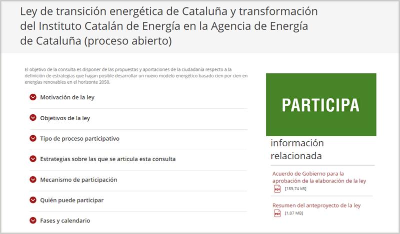Consulta pública en la Instituto Catalán de Energía