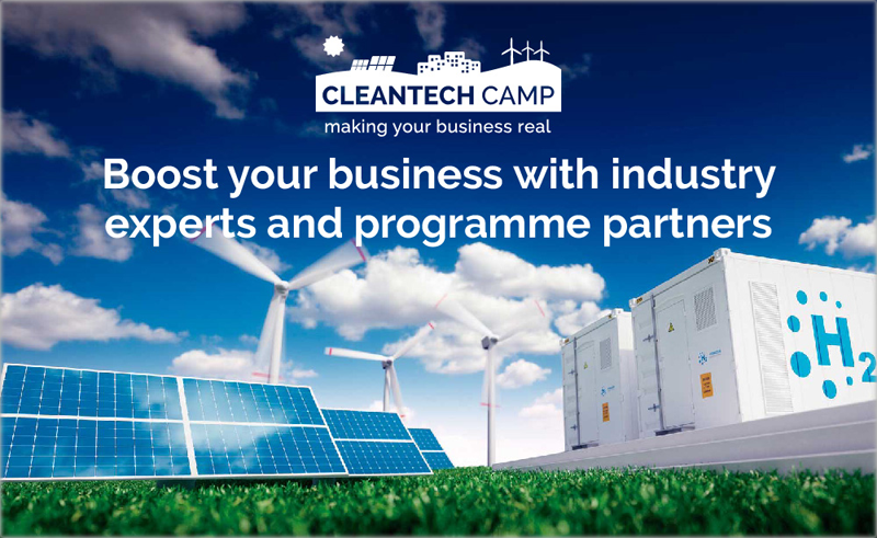 Cartel del programa de Cleantech Camp
