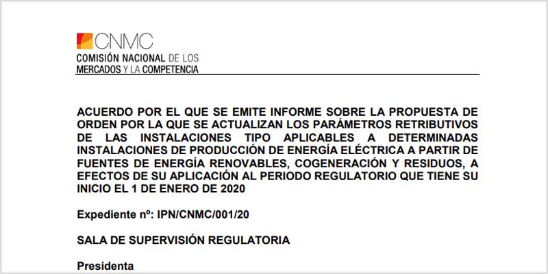 Propuesta de la Comisión Nacional de los Mercados y la Competencia