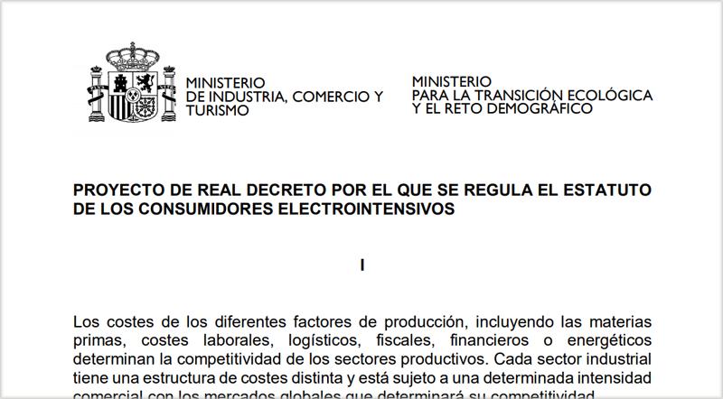Proyecto de Real Decreto por el que se regula el Estatuto de los Consumidores Electrointensivos