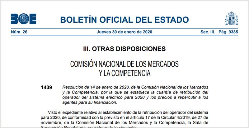 Publicación de la resolución en el BOE