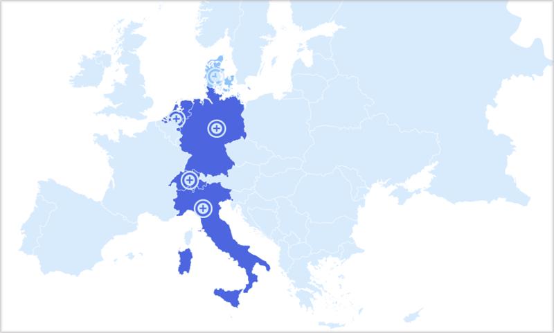 Mapa de Europa con los países involucrados