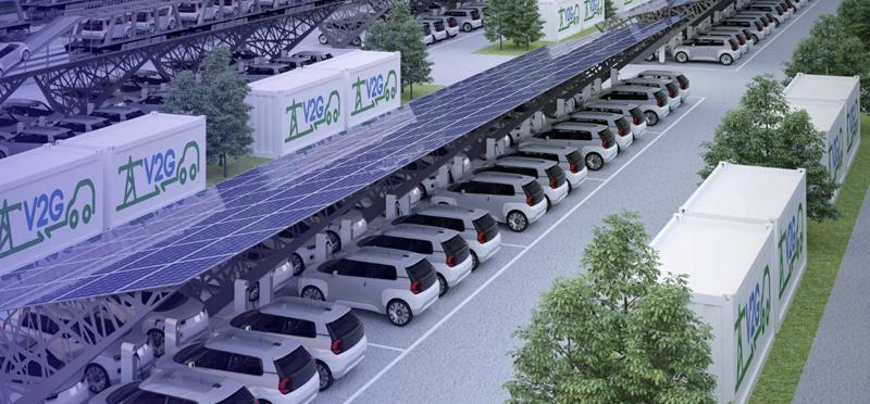 Aparcamiento con baterías y placas fotovoltaicas