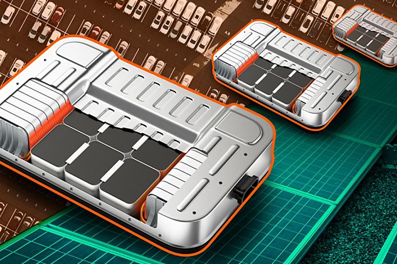 imagen de batería de iones de litio sobre un fondo de automóviles y paneles solares