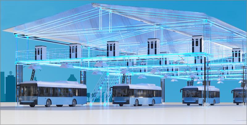 Infraestructura de carga autobuses eléctricos de Siemens.