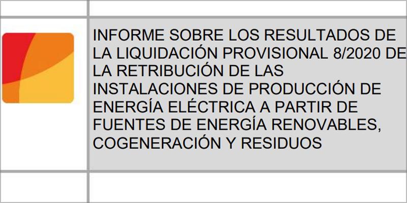 La CNMC publica el informe de la octava liquidación provisional de 2020 del sector eléctrico