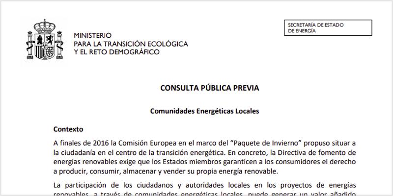 Texto de la consulta pública previa