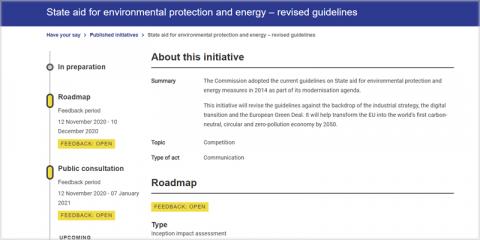 Consulta pública sobre ayudas estatales medioambientales y energéticas en la UE