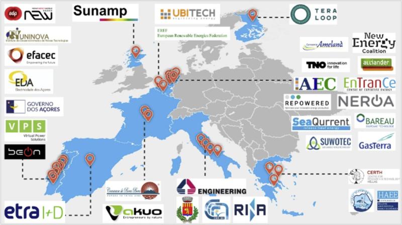 Mapa de Europa con los participantes en el proyecto