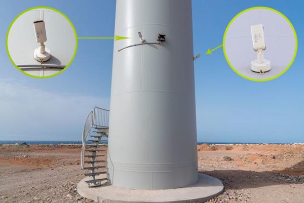 cámaras dispuestas en el aerogenerador