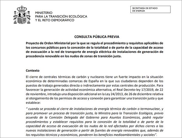onsulta pública sobre la concesión de los nudos de red afectados por los cierres de centrales térmicas