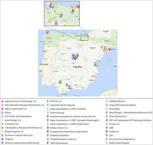 Mapa de España con las empresas del sector