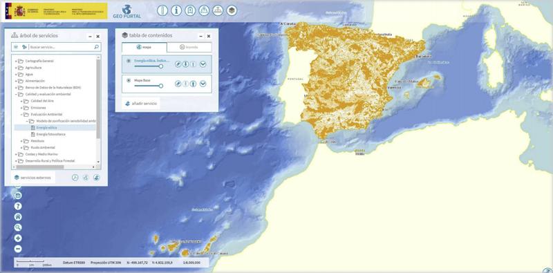 Capas de información eólica y fotovoltaica