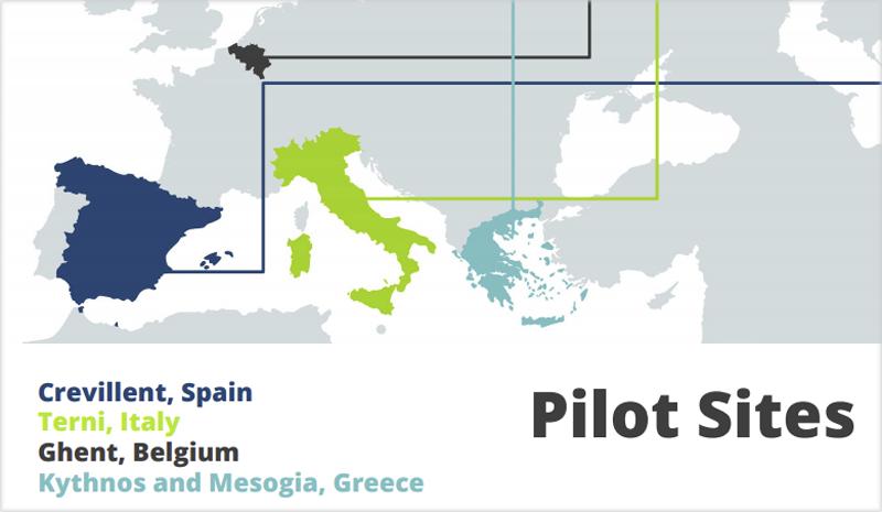 Mapa de los sitios piloto en cuatro países