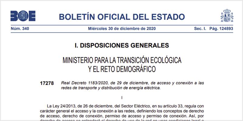Real Decreto 1183/2020, de 29 de diciembre, de acceso y conexión a las redes de transporte y distribución de energía eléctrica