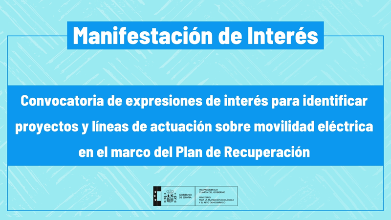 Convocatoria de expresiones de interés sobre movilidad eléctrica e infraestructura de recarga