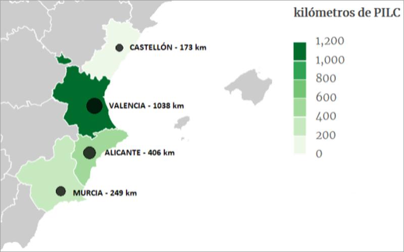 Mapa conceptual de los kilómetros de cable tipo PILC, por provincias, en la Región Este de i-DE en España.
