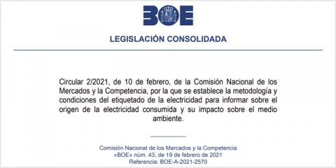 La CNMC establece el etiquetado de la electricidad para informar al consumidor