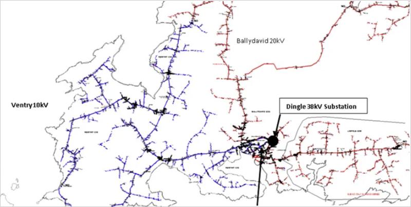 Mapa de la red del sitio piloto en Irlanda
