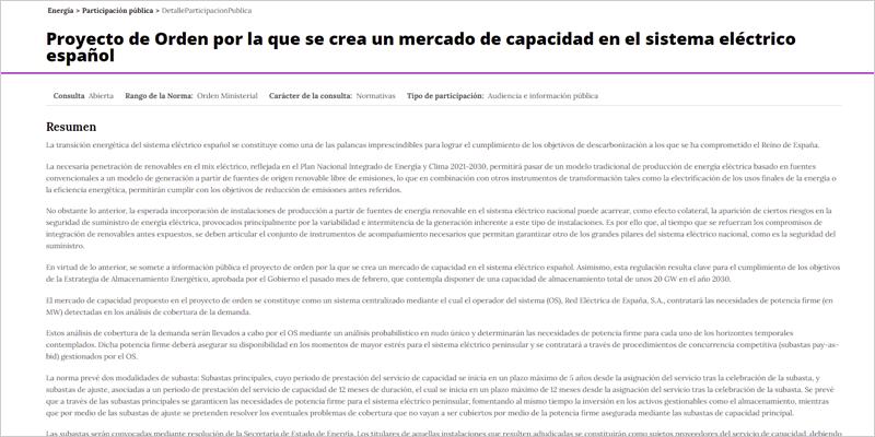 Consulta sobre el Proyecto de Orden por la que se crea un mercado de capacidad en el sistema eléctrico español