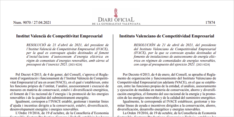 Publicación de la resolución en el Diario Oficial de la Generalitat Valenciana
