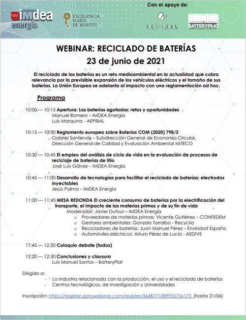 Programa webinar 'Reciclado de baterías'