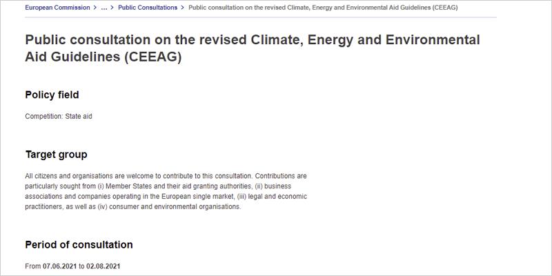 Consulta pública sobre las Directrices revisadas de ayuda para el clima, la energía y el medio ambiente (CEEAG)
