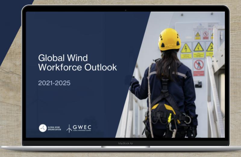 Portada del informe 'The Global Wind Workforce Outlook 2021- 2025'
