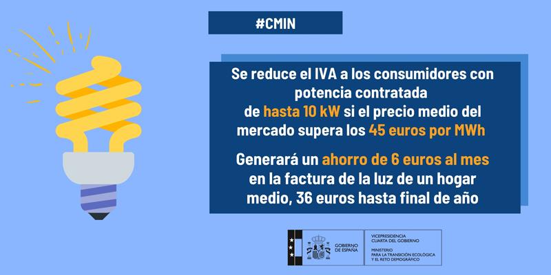 Cartel que anuncia la reducción del IVA