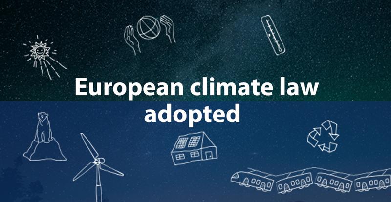 Cartel que anuncia la aprobación de la Ley Europea del Clima