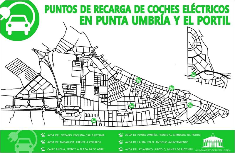 ubicación de puntos de recarga para vehículos eléctricos de Punta Umbría