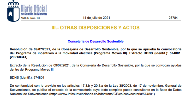 Convocado en Castilla-La Mancha el Plan Moves III, programa de incentivos para la movilidad sostenible.