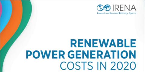 En 2020, los costes de la generación eléctrica con renovables mantuvieron la tendencia descendente