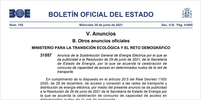 Resolución publicada en el BOE