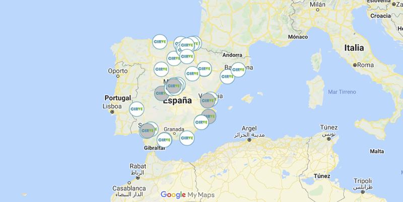 Mapa con la red de puntos de recarga del proyecto CIRVE