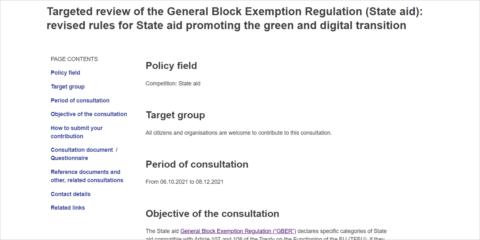 La CE abre una consulta para facilitar la concesión de ayudas que apoyen la transición verde y digital